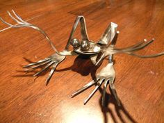 WTF Frog, repurposed silverware metal sculpture via Etsy