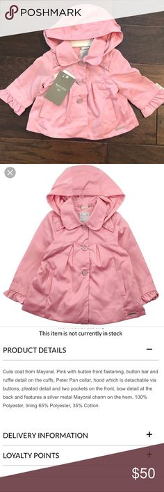 9f136b979a2 Mayoral baby windbreaker + matching sunhat 🎀 Stunning rose pink  windbreaker for baby girl +