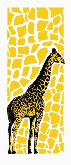 Giraffe art print (yellow) hand printed $40