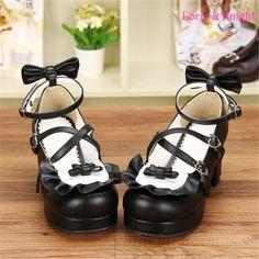 女の子メイドロリータコスプレ靴ちょう結びストラップ黒puレザーブロックヒール甘いロリータメアリージェーンシューズ