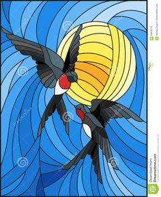 Illustration about Illustration in stained glass style a pair of swallows on the background of sky and sun. Illustration of plan, part, decorate - 99809718 Stained Glass Quilt, Stained Glass Birds, Stained Glass Suncatchers, Stained Glass Designs, Stained Glass Patterns, Stained Glass Windows, Mosaic Art, Mosaic Glass, Glass Painting Designs