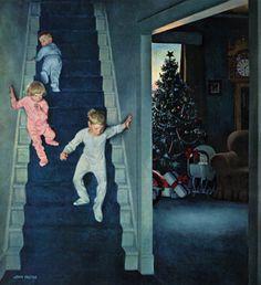 Christmas Morning, by John Falter. Saturday Evening Post cover detail - December 24, 1955.