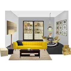 """Room with a yellow sofa"" by littlelady956 on Polyvore"