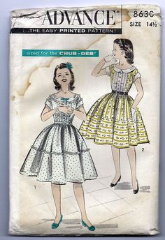 Retro Girls Dress Pattern - Collectible Pattern - Advance Pattern Size 14 plus for the Chub-Deb