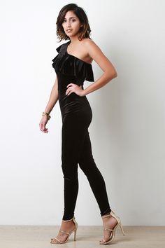 Velvet Single Shoulder Ruffle Jumpsuit