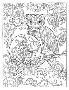 "Creative Haven Owls Coloring Book by Marjorie Sarnat, ""Magic Castle"""