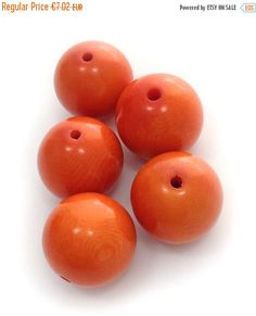 Tagua perlen, rund, orange, 17mm, 5 Stück, runde Perlen, tagua beads, orange beads, big beads, natural beads, rainforest beads, tagua nut