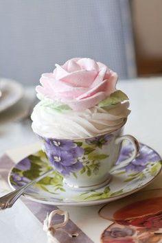 pretty cake in a teacup