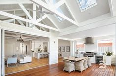 Inspiration ~ We love the look of the exposed trusses & think the skylights are perfectly placed. Well done Phil & Amity your home is… Custom Built Homes, Home, Outdoor Kitchen Design, House Inspiration, House Design, Modern Country Style, Hamptons House, Outdoor Rooms, Country House Decor