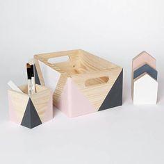 Geometric wooden box with handles – Wooden storage – Toy box – Office storage – Kitchen storage – Storage idea – Organizer – Wooden crate - shipping crates Wooden Storage Crates, Small Storage Boxes, Diy Wooden Crate, Wooden Toy Boxes, Crate Storage, Office Storage, Diy Storage, Kitchen Storage, Storage Ideas