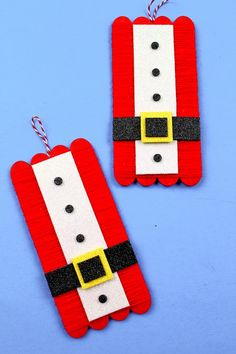 Santa suit craft for kids to make for Christmas! Popsicle Stick Christmas Crafts, Holiday Crafts For Kids, Popsicle Stick Crafts, Christmas Ornament Crafts, Crafts For Kids To Make, Xmas Crafts, Craft Stick Crafts, Kids Christmas, Popsicle Sticks