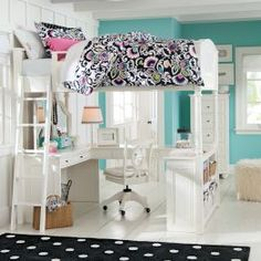 Girls Bedroom Furniture & Girls Room Ideas | PBteen. Seriouly LOVE the lofted bed. Saves loads of space too!
