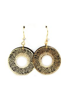 Dreamy chic, Laser Cut Golden Filigree layered against polished Jet, accented with single Austrian Crystal Earrings.