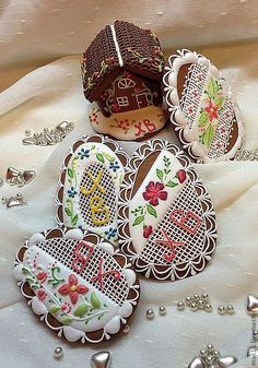 Gingerbread house & egg cookies.