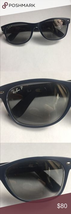 Ray-band wayfarer polarized sunglasses Matt blue in color. Comes with case Ray-Ban Accessories Glasses
