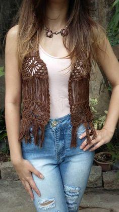 colete de crochê com franjas - coletes handmade