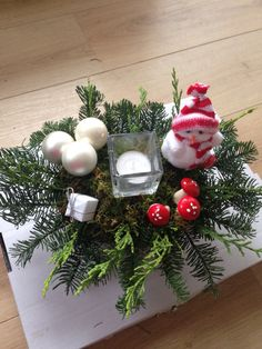 Rood wit kerststukje
