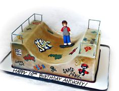 Skate Park Skateboard Ramp Cake For a boys Birthday. All edible except the railing. Skateboard Party, Skateboard Ramps, Bmx, Cupcakes, Cupcake Cakes, Cookie Cakes, Birthday Party Themes, Boy Birthday, Birthday Ideas