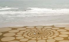 wonderful and giant drawings in the sand made with sticks rope and other simple tools...