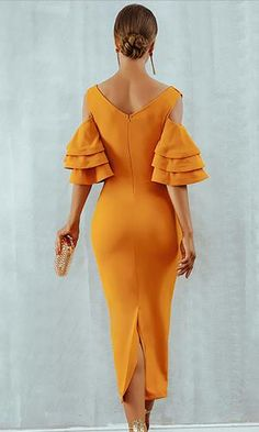 Raised Me Right Elbow Sleeve Ruffle Cross Wrap V Neck Cold Shoulder Bodycon Midi Dress - 7 Colors Available Stunning Wedding Guest Dresses, Orange Dress, African Dress, Dress Backs, Ruffle Dress, Ruffles, Dress To Impress, Party Dress, Fashion Dresses