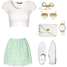 White, mint, and gold outfit