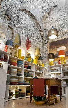 Grottaglie (Taranto) Italy,    Ceramic shops inside caves