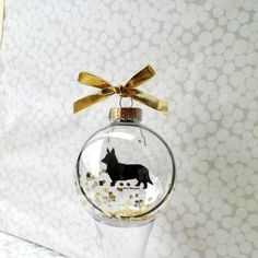 Dog Silhouette Ornament Globe / Cardigan by silhouettesbylena, $16.00
