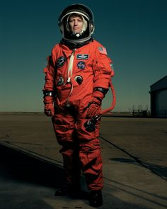 Annie Leibovitz took this photo of Eileen Collins at the Johnson Space Center in Houston, Texas, during training. Collins was the first female pilot (Discovery in 1995) and first female commander (Columbia, 1999) of a space shuttle mission.