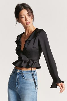 Forever 21 Self-Tie Ruffle Top woven top featuring a V-neckline with a self-tie front, ruffle trim, darting at the bodice, and long sleeves. Cute Fashion, Look Fashion, Girl Fashion, Fashion Outfits, Womens Fashion, Blouse Styles, Blouse Designs, Pinterest Fashion, Beautiful Blouses