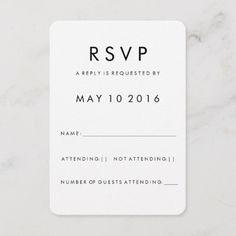 Shop Futura Modern RSVP Card created by HumbleandStone. Black And White Wedding Invitations, Simple Wedding Invitations, Bridal Shower Invitations, Invites, Wedding Wording, Wedding Rsvp, Wedding Cards, Wedding Table, Wedding Ideas