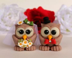 Wedding cake topper owl love bird personalized by PerlillaPets