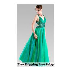 Free Shipping Emerald Green Flowing Evening Dresses ❤ liked on Polyvore