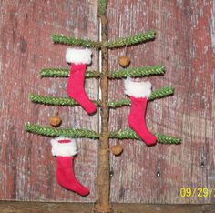 Primitive Faux Feather Tree with Primitive Red by WillowCreekPrims, $19.99