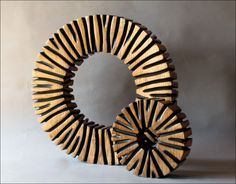 two brown rings sculpture by benoit averly