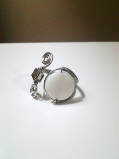 Genuine Smokey Quartz Crystal and White Shell w/ Silver Tone Wire Wrapped Ring @ facebook.com/deepsouldzine, $12