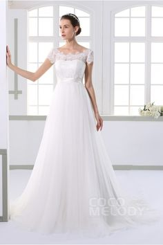 Timeless Sheath Illusion Natural Train Tulle Ivory Cap Sleeve Zipper With Button Wedding Dress with Ribbons JWXT15052
