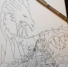 Dragon fight - work in progress  #fineliner #lineart #drawing #pigma #pigmafineliner #artstagram #instaart #linework #blackandwhite #lines #dragon #knight #warrior #cave #fight #tag_artist #art #artist #archery #micron #micronfinelines #art_we_inspire