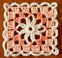 Square crochet in shades of tea with a sweet-orange tree Crochet Squares Afghan, Crochet Quilt, Crochet Blocks, Granny Square Crochet Pattern, Crochet Chart, Crochet Blanket Patterns, Crochet Motif, Crochet Designs, Knitting Patterns