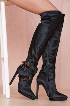 Jeffrey Campbell Soldado Pony Hair Boot - What's New Black Thigh High Boots, Knee High Boots, Over The Knee Boots, High Heels, Stilettos, Cute Boots, Sexy Boots, Jeffrey Campbell, Heeled Boots