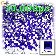 10000-pc Acrylic Flatback Square Rhinestones 3mm Royal Blue
