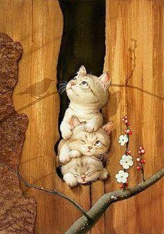 Art by Makoto Muramatsu.  Source: http://www.catsfineart.com/html/kittens_57.php