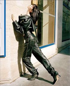 vejask: Vejas Calfskin Leather blouson and trousers in Oyster Magazine as seen by Jakob Landvik and styled by Thistle Brown. Red Leather, Leather Pants, Oyster Magazine, Chunky Boots, Cool Sweaters, Brown Fashion, Fashion Editor, Lady, Beautiful People