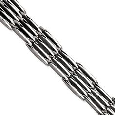 """Stainless Steel Polished Link 8.5 Inch Bracelet The Black Bow. $71.00. Crafted with 316L stainless steel. Average weight 58.79 grams. Measures 16mm wide by 8.5"""" long. High polished finish"""