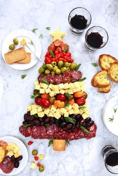 Christmas Tree Antipasto Plate - DeLallo /> Celebrate the season with everybody's favorite gourmet goodies! Create a stunning and festive holiday app using gourmet cheeses, cured meats and a selection of marinated Mediterranean bites from the. Christmas Canapes, Christmas Party Food, Xmas Food, Holiday Appetizers, Christmas Cooking, Appetizer Recipes, Holiday Recipes, Holiday Parties, Family Recipes