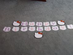Hello Kitty Happy Birthday banner using the Hello Kitty Cricut Cartridge.  Will attach it all together with colourful ribbon or fishing line.