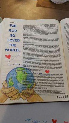 Bible art journaling he's got the whole world in his hands Faith Bible, My Bible, Bible Art, Bible Scriptures, Art Journaling, Bible Study Journal, Scripture Study, Scripture Journal, Bible Drawing