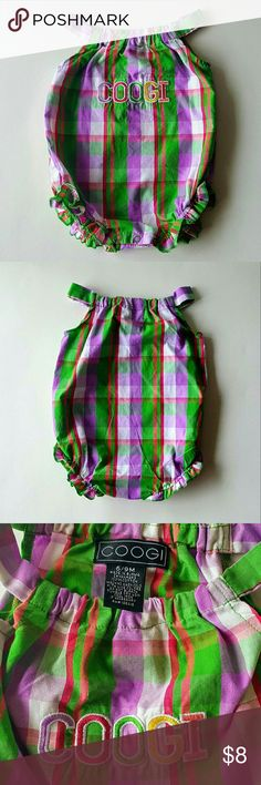 "COOGI Baby Girl Romper Sunsuit 6-9 Months COOGI Baby Girl Romper/Sunsuit in Purple & Green Plaid with ""COOGI"" logo - Size 6-9 Mos.  - NWOT (New Without Tag). COOGI One Pieces"