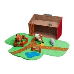 Farmhouse encourages role play; children develop social skills by imitating grown-ups and inventing their own roles.