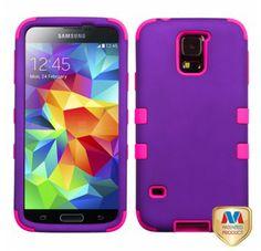 SAMSUNG Galaxy S5> Galaxy S5 gummiertem trauben Electric rosa TUFF Hybrid telefonisch Schutzabdeckung