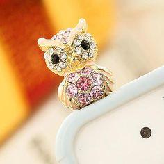 Rhinestone Owl Earphone Plug